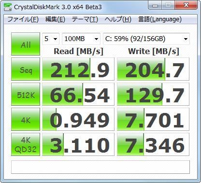 「ハードディスクベンチマークの結果」 CrystalDiskMark 3.0 x64 Beta3 (C) 2007-2010 hiyohiyo Crystal Dew World : http://crystalmark.info/ * MB/s=1,000,000bytes/sec [SATA/300=300,000,000bytes/sec]            Sequential Read :   212.892 MB/s           Sequential Write :   204.667 MB/s          Random Read 512KB :    66.538 MB/s         Random Write 512KB :   129.662 MB/s     Random Read 4KB (QD=1) :     0.949 MB/s [   231.7 IOPS]    Random Write 4KB (QD=1) :     7.701 MB/s [  1880.2 IOPS]    Random Read 4KB (QD=32) :     3.110 MB/s [   759.3 IOPS]   Random Write 4KB (QD=32) :     7.346 MB/s [  1793.6 IOPS]   Test : 100 MB [C: Used 57.4% (89.7/156.2 GB)] (x5)   Date : 2010/02/11 16:50:59     OS : Windows 7 Ultimate Edition [6.1 Build 7600] (x64)